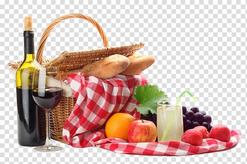 Wine Picnic Baskets Food Pasta, wine transparent background.