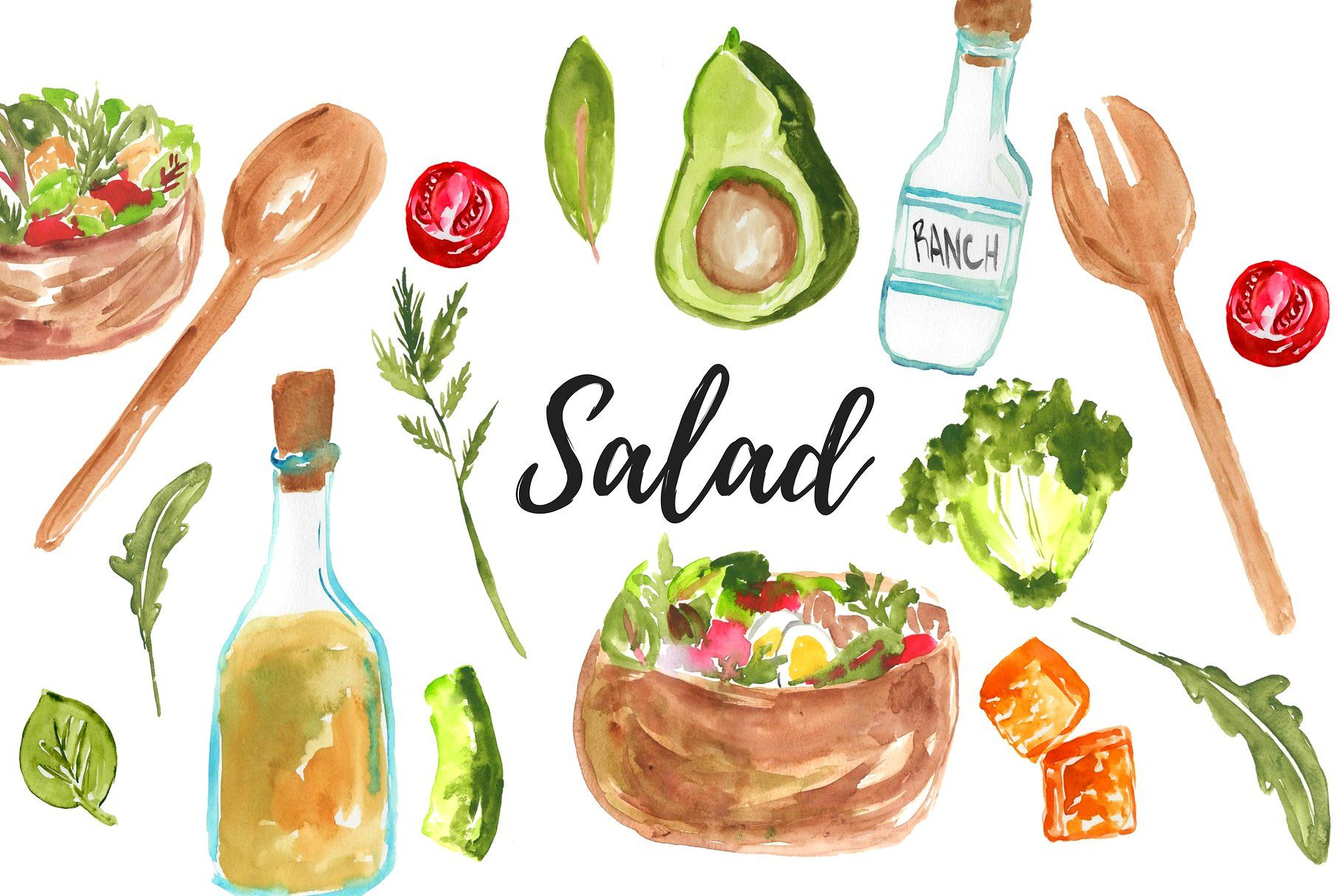 Watercolor food salad clipart #background#place#color.