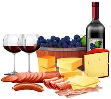 Wine And Cheese Free Vector Art.