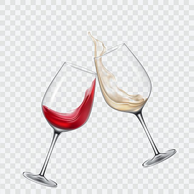 Set Transparent Glasses With White And Red Wine, Wine, Glass.