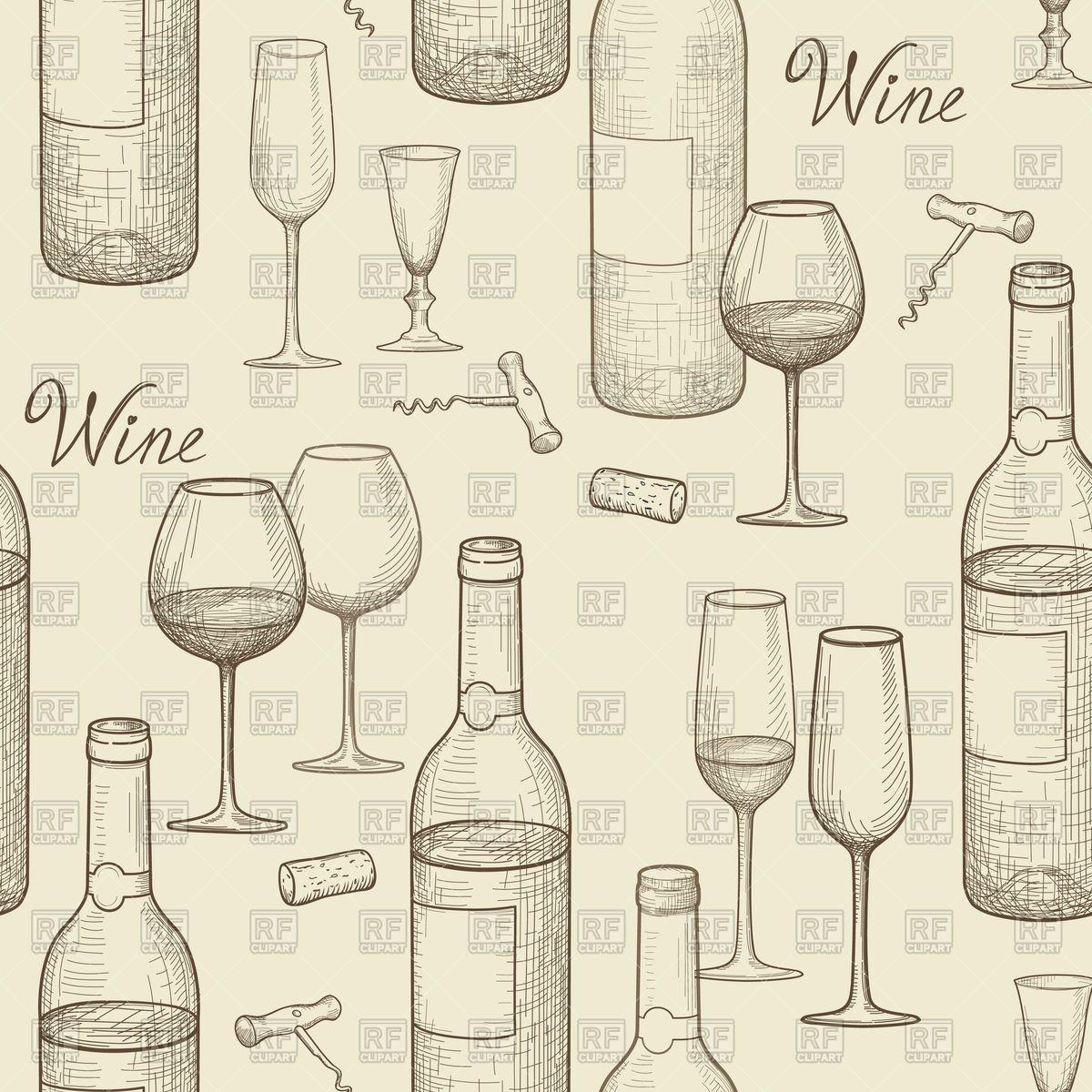 Drink wine seamless doodle pattern. Wine card bar background.
