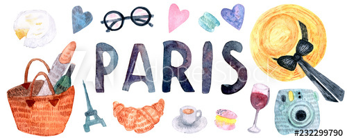 Watercolor Paris set. Hand drawn elements of french culture.