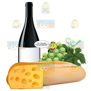 French Bread With Grapes A Bottle Of Wine And Swiss Cheese.