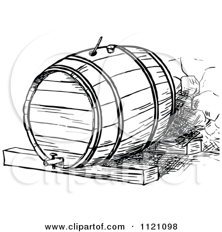 Clipart Of A Retro Vintage Black And White Beer Or Wine Barrel.