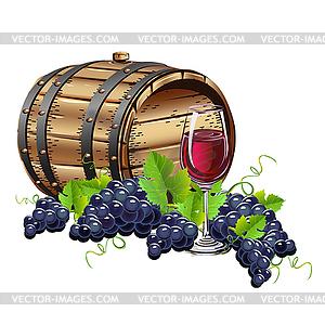 Wine barrel and Grapes.