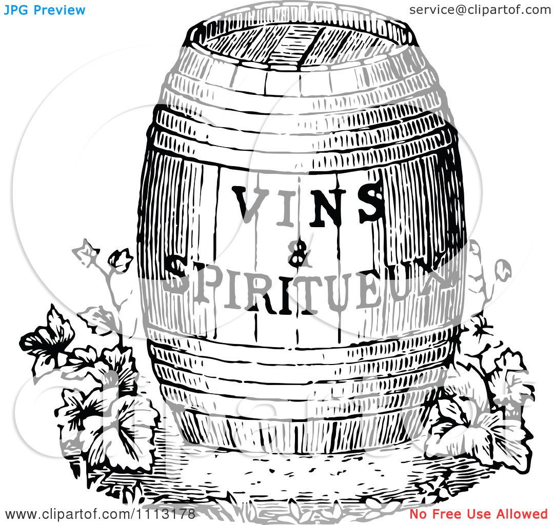 Clipart Vintage Black And White Wine Barrel With Text.