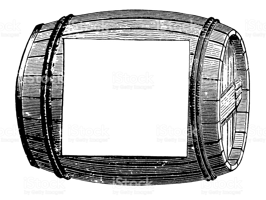 Vintage Clip Art And Illustrations Wine Barrel With Copyspace.