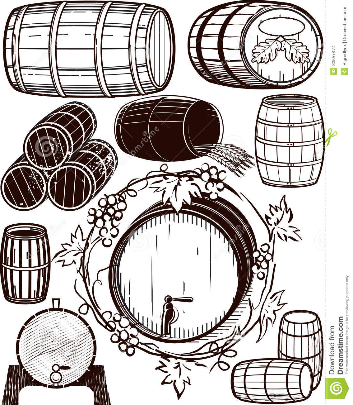 Wine barrels clipart.
