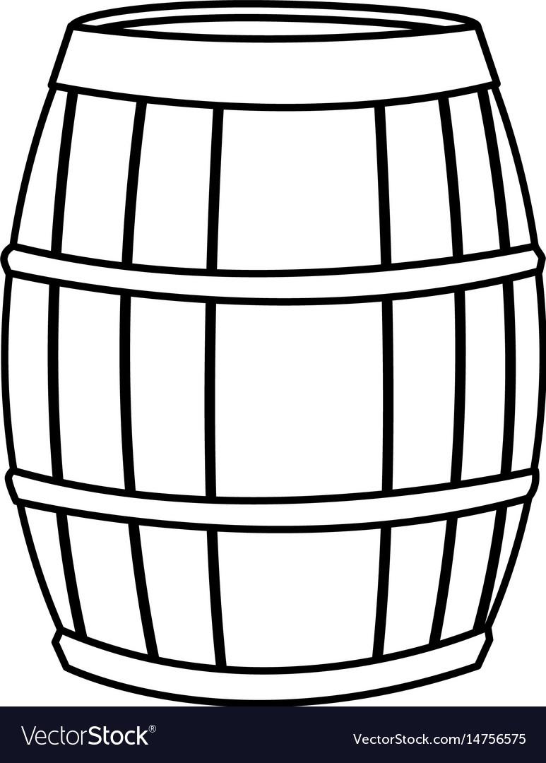 Wine barrel wooden conatiner line image.
