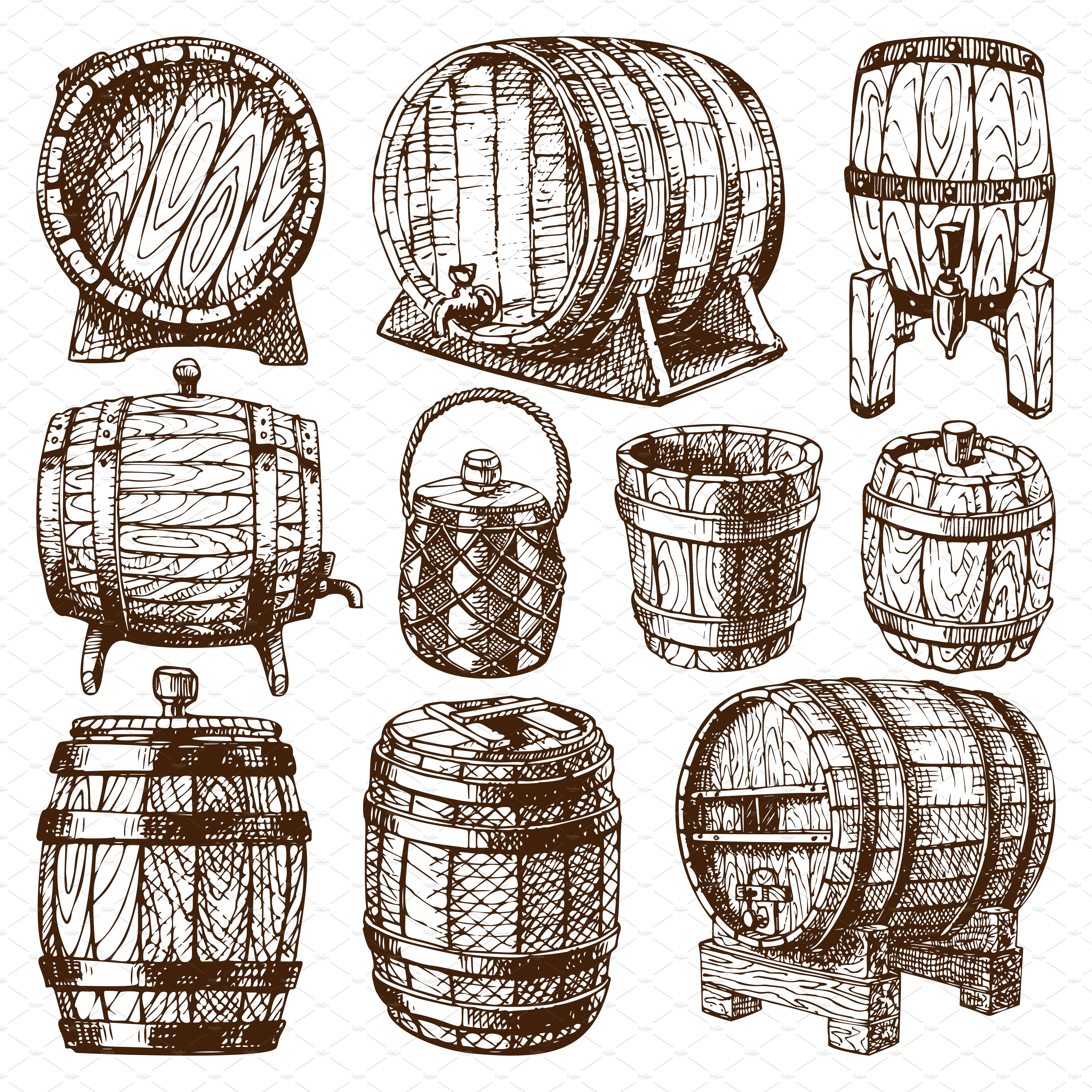 Wooden barrel vector #wooden#barrels#oak#style in 2019.
