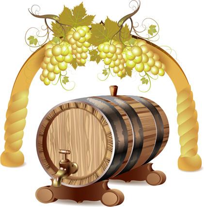 Set of wooden wine barrel vector Free vector in Encapsulated.