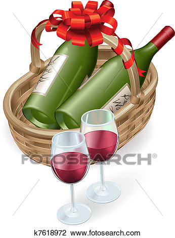 Wicker wine basket Clipart.