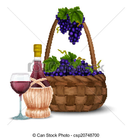 Wine grape and wine basket.