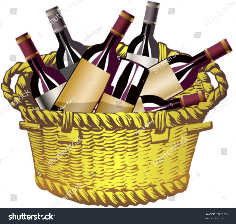 Wine Basket Clipart.