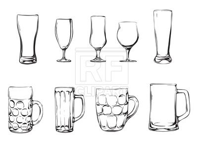 Beer glasses and mugs Stock Vector Image in 2019.
