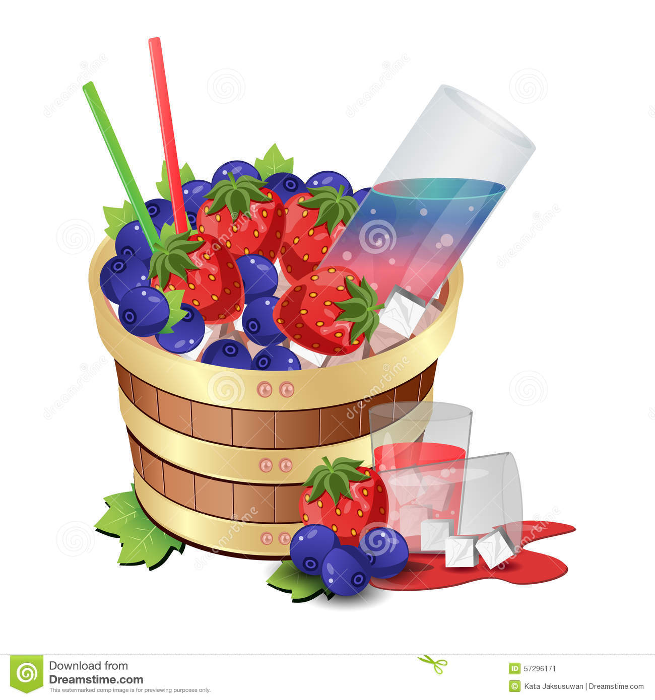 Wine Berry Barrel Stock Vector.