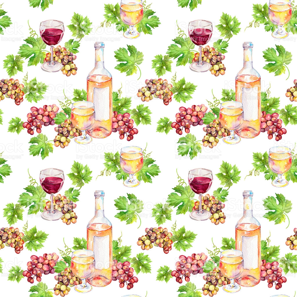 Seamless Pattern Wine Glass Bottle Vine Leaves Grape Berries.