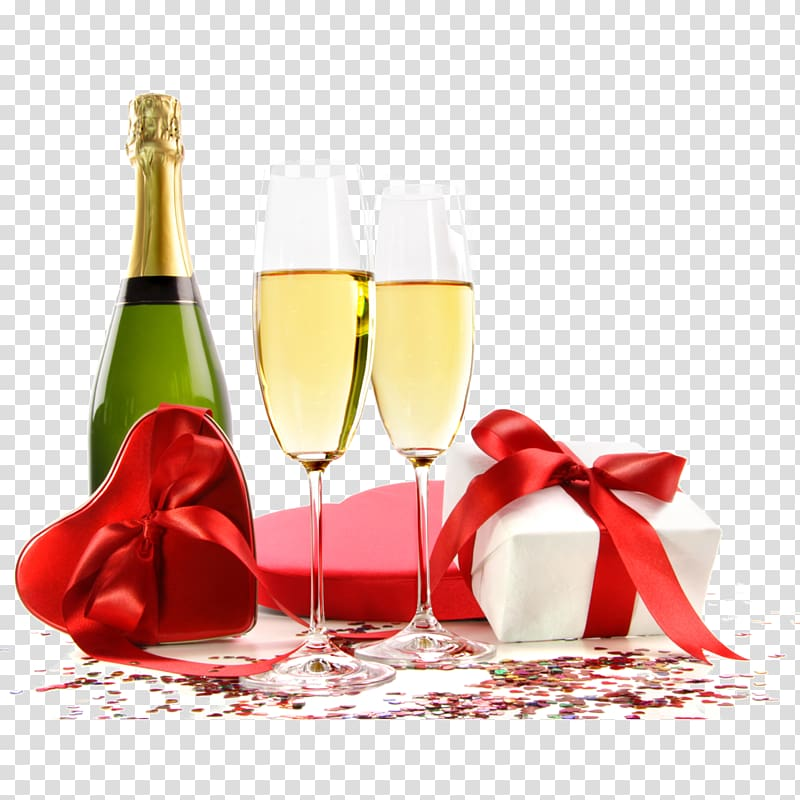 Two wine glasses with gift box illustration, Beer Champagne.