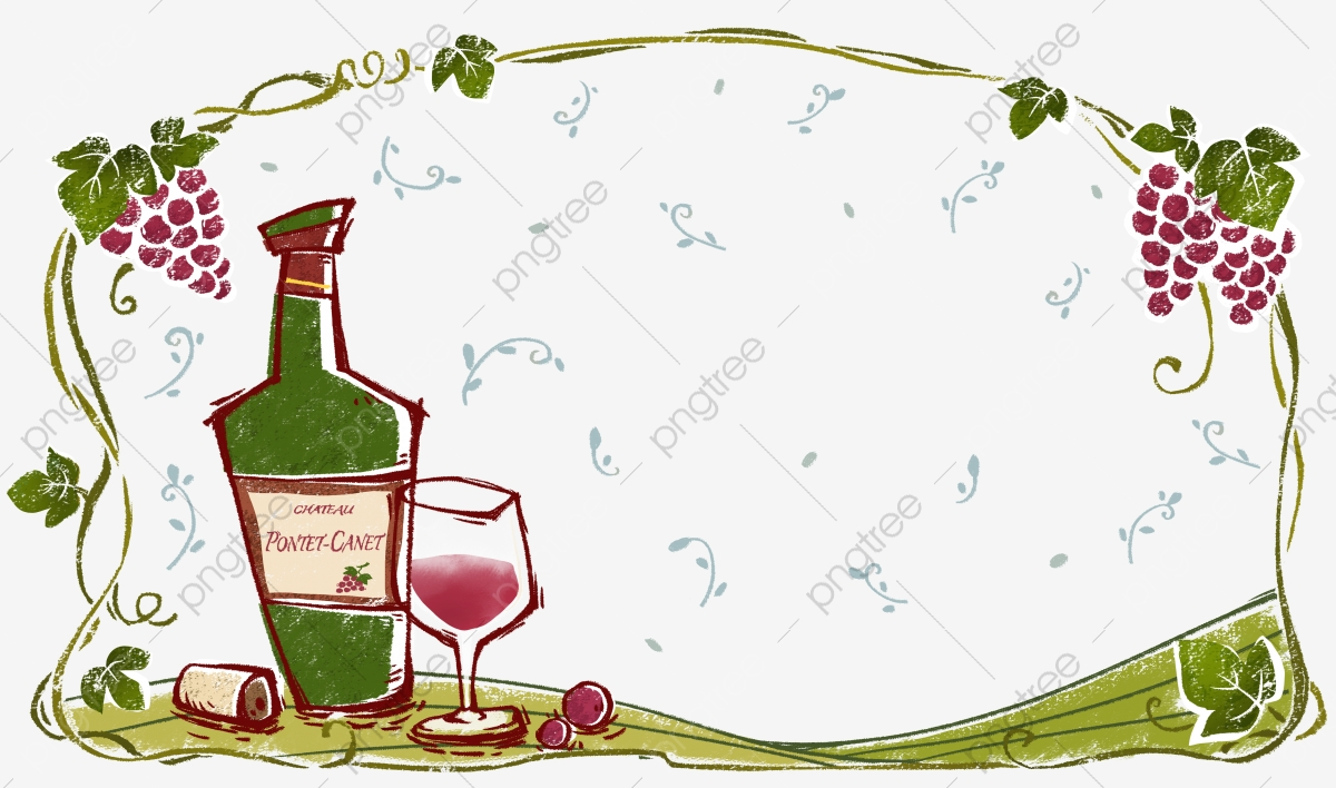 Red Wine Border, Red Wine, Cartoon, Design PNG Transparent Clipart.