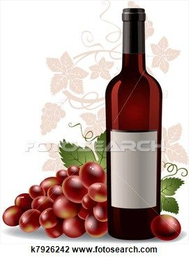 Wine bottle and grape Clipart.