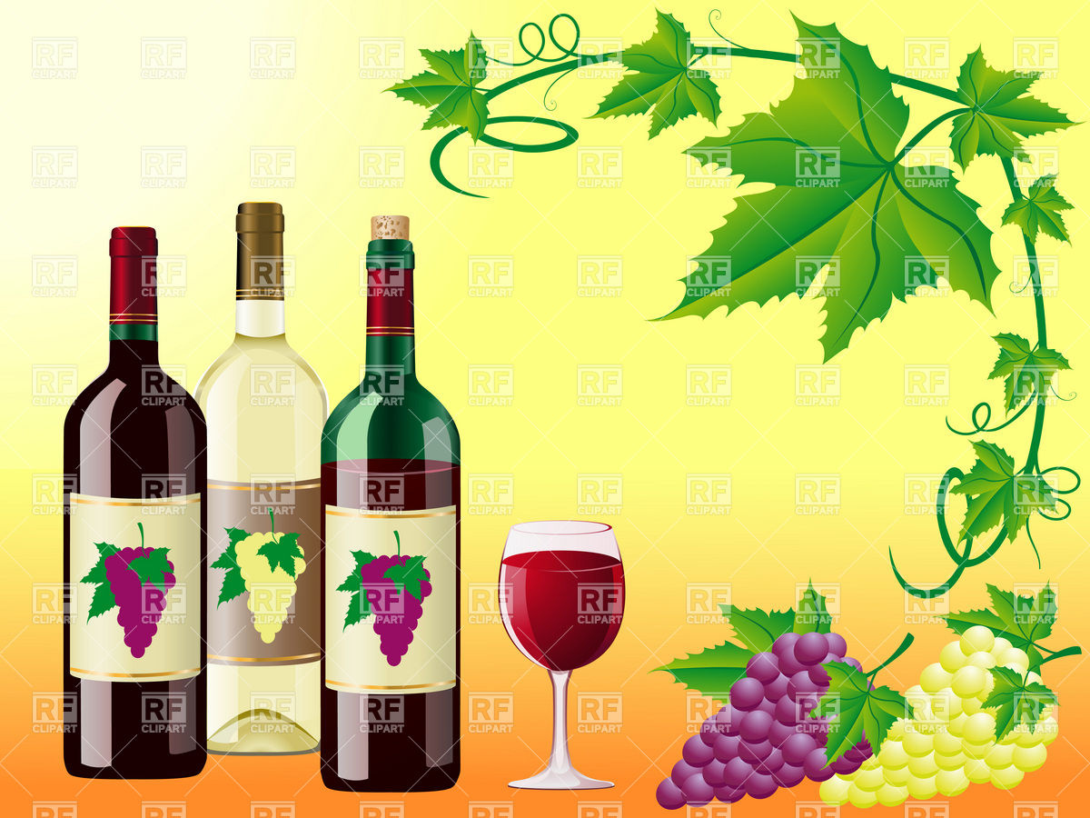 Wine bottels, bunch of grapes and vine frame Stock Vector Image.