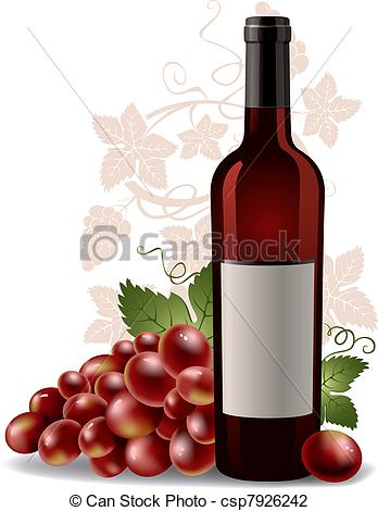 wine bottle and grape.