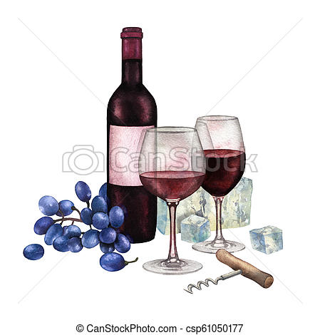 Two watercolor glasses of red wine, bottle, grapes, cheese and corkscrew.