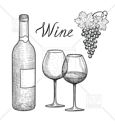 Wine glass, bottle and grape branch Vector Image.