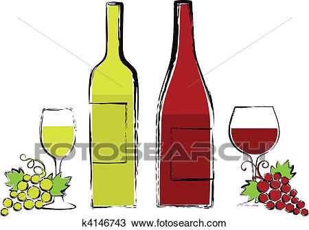 Wine bottles with glasses and grape Clipart.