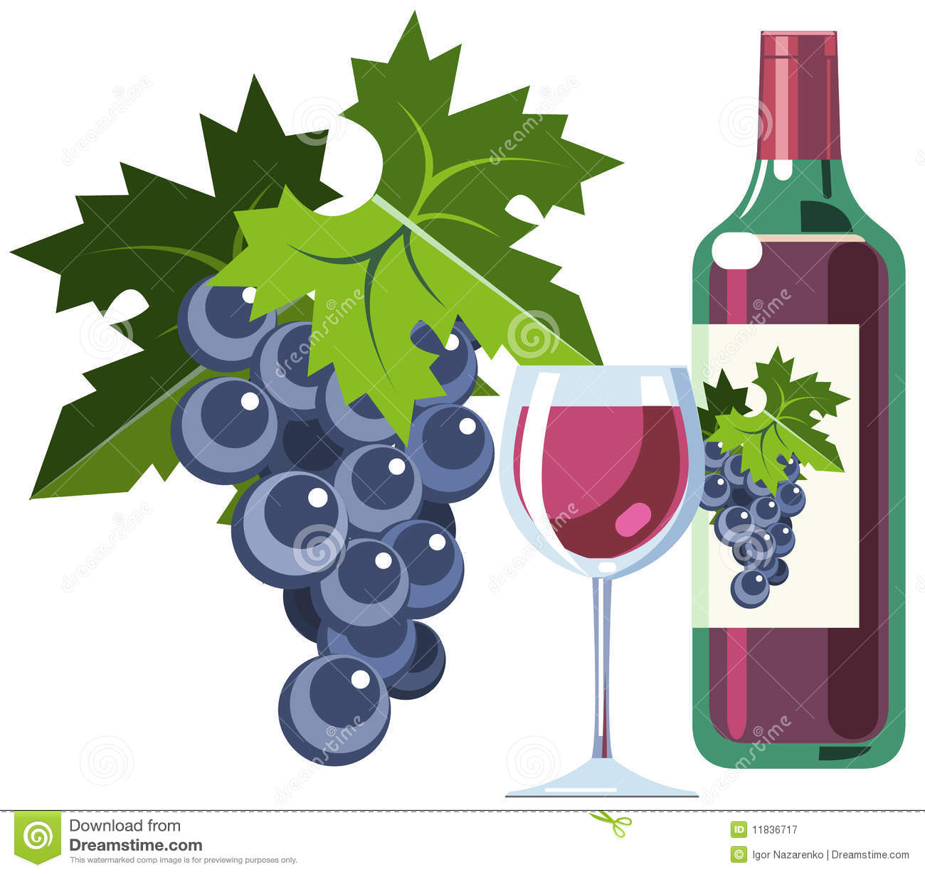 Red Wine With Grapes, Bottle And Glass Stock Vector.
