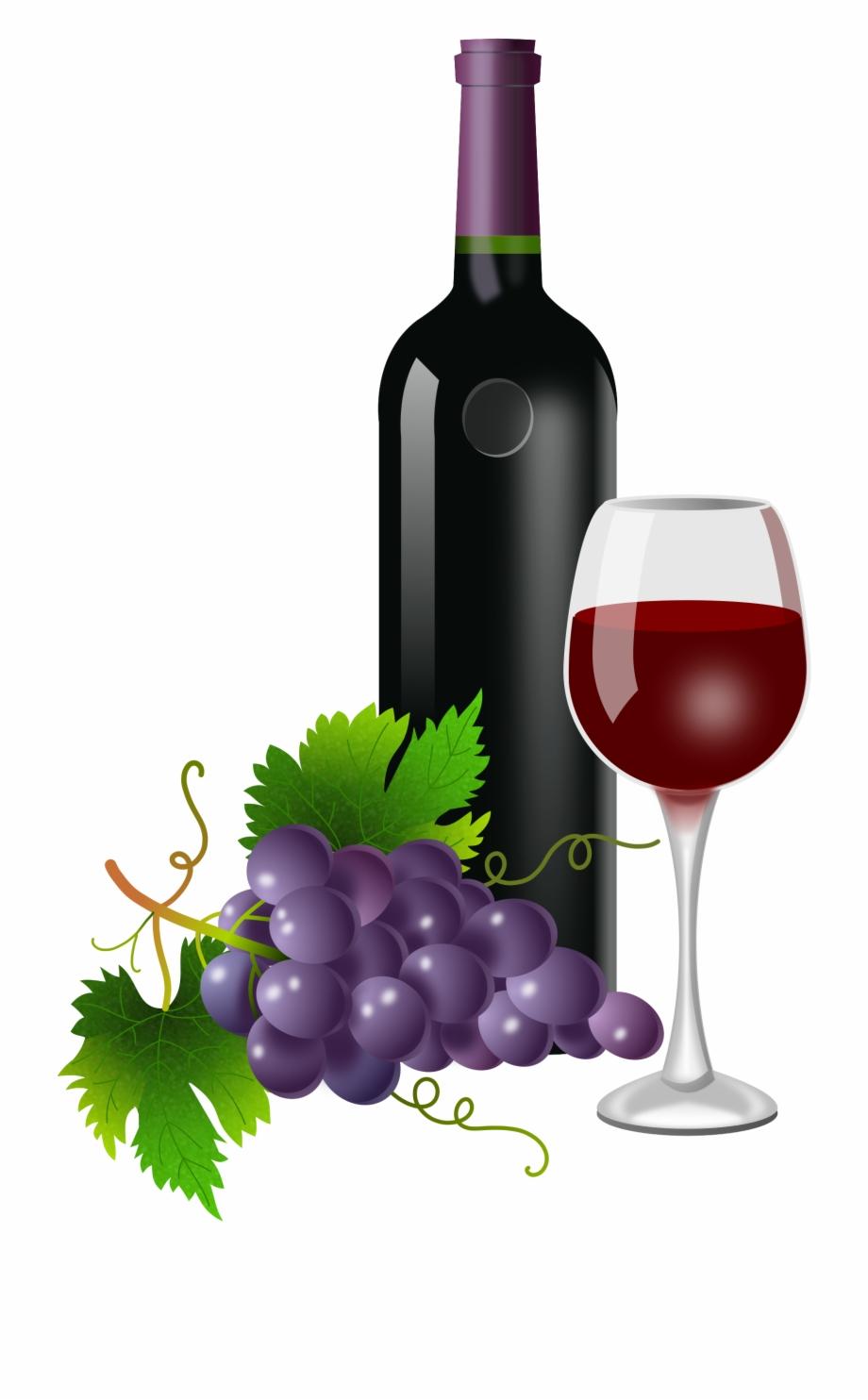 Grapes clipart wine bottle, Grapes wine bottle Transparent.