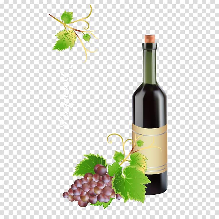 Red Wine Bottle Grape, Wine bottles material transparent.