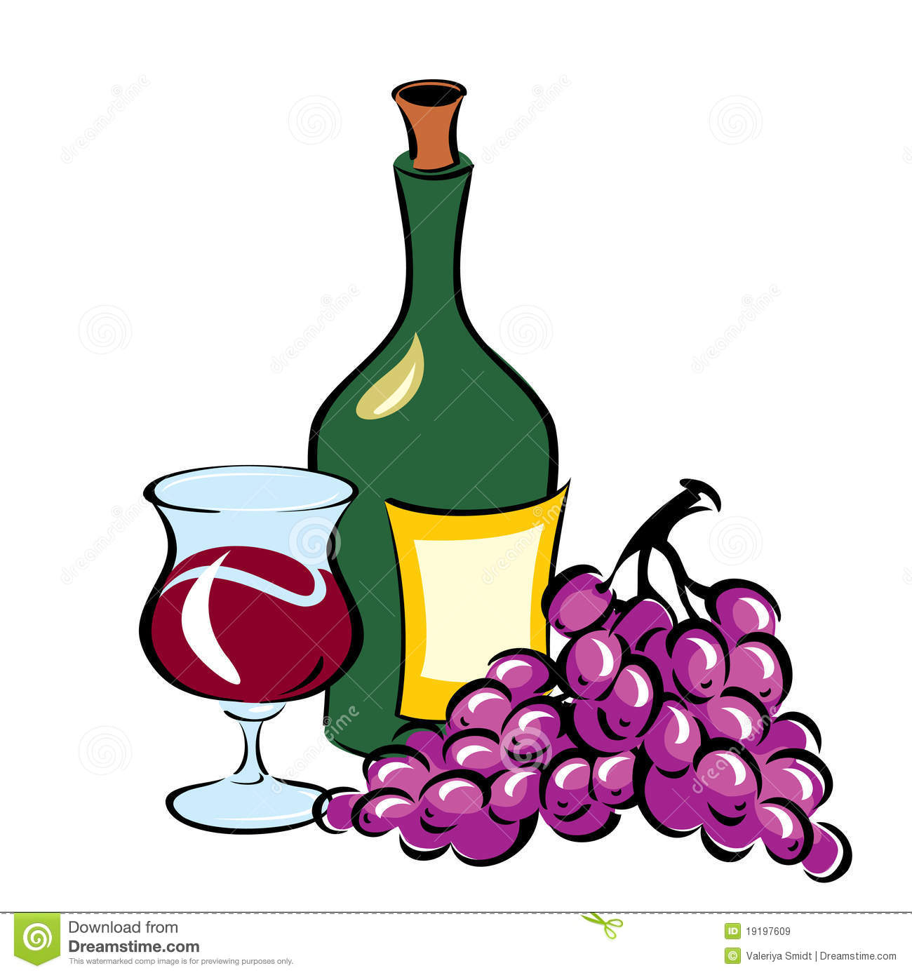 Wine Bottle Grapes Clipart.