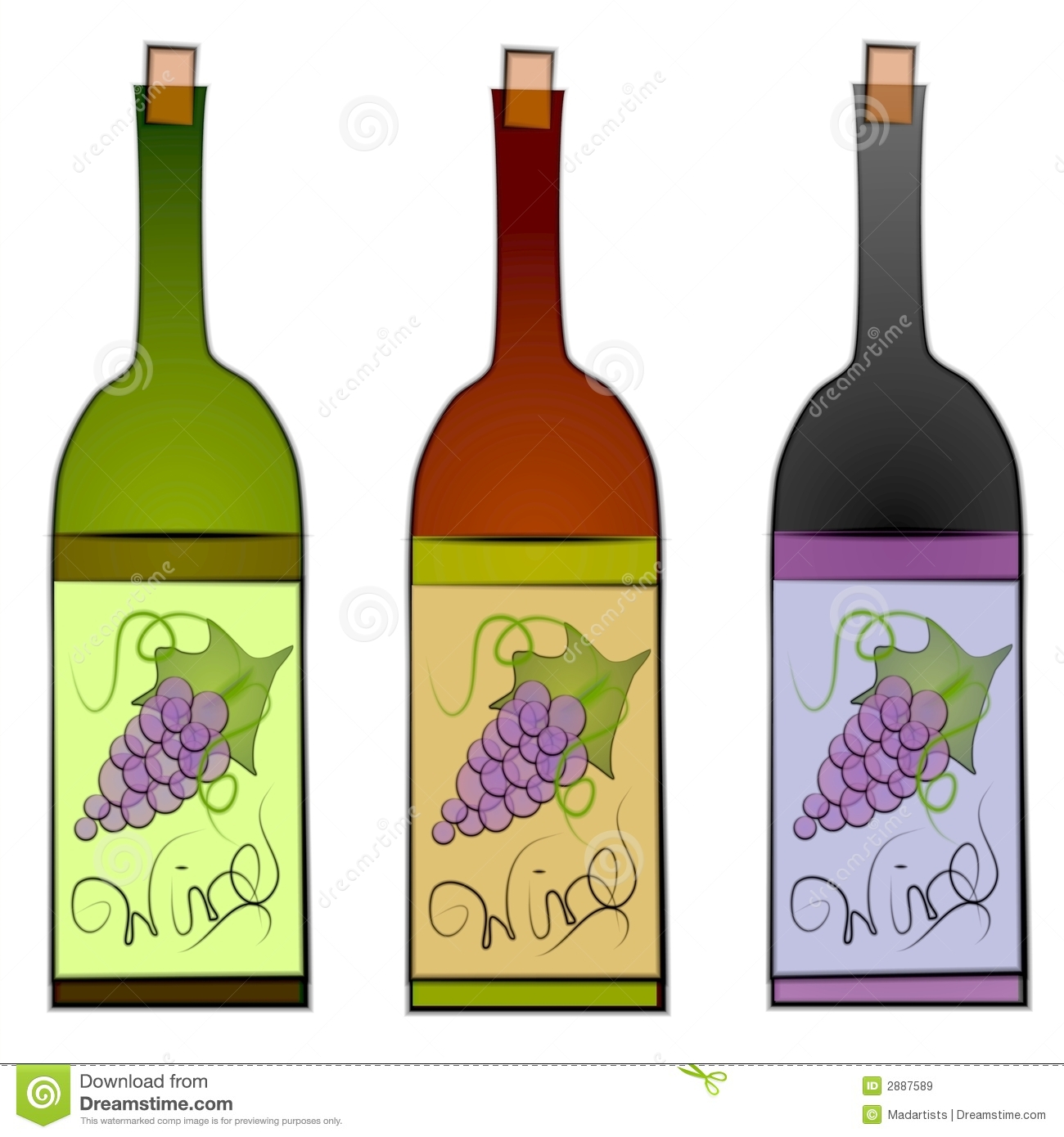Wine Bottle And Grapes Clipart.