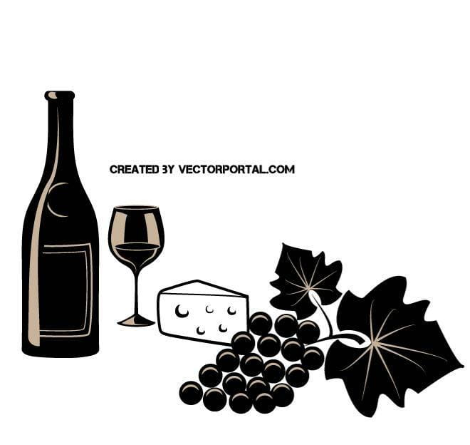 Wine and cheese vector ai, eps file.