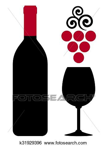 Wine bottle with glass and red grape Clip Art.
