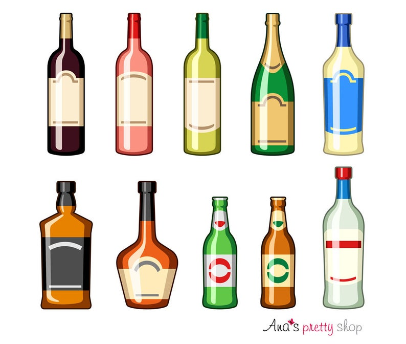 Alcohol bottles clipart, drinks, wine bottle, champagne, martini, whiskey  bottle, cognac, beer bottle, pina colada, vector illustrations.