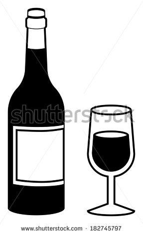 Wine Bottle Black And White.
