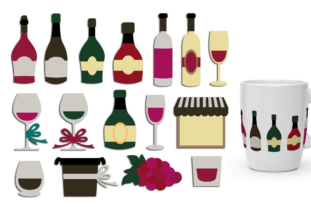 Wine bottles, wine glasses clip art graphic illustration.