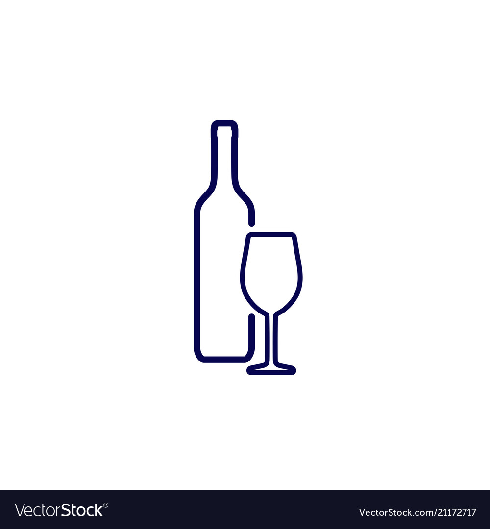 Icon of silhouette wine bottle and wine glass.
