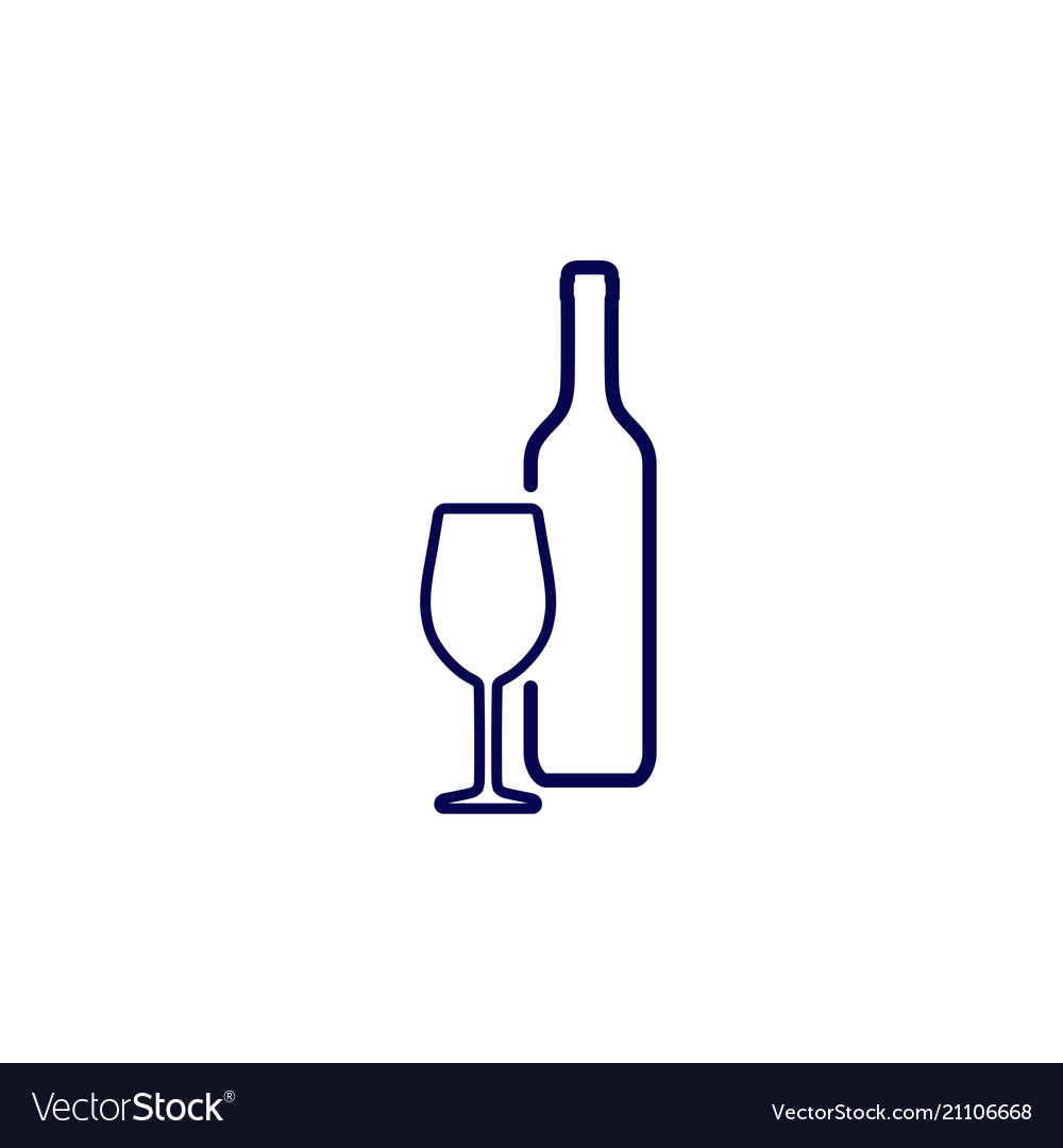 Silhouette wine bottle and wineglass icon.