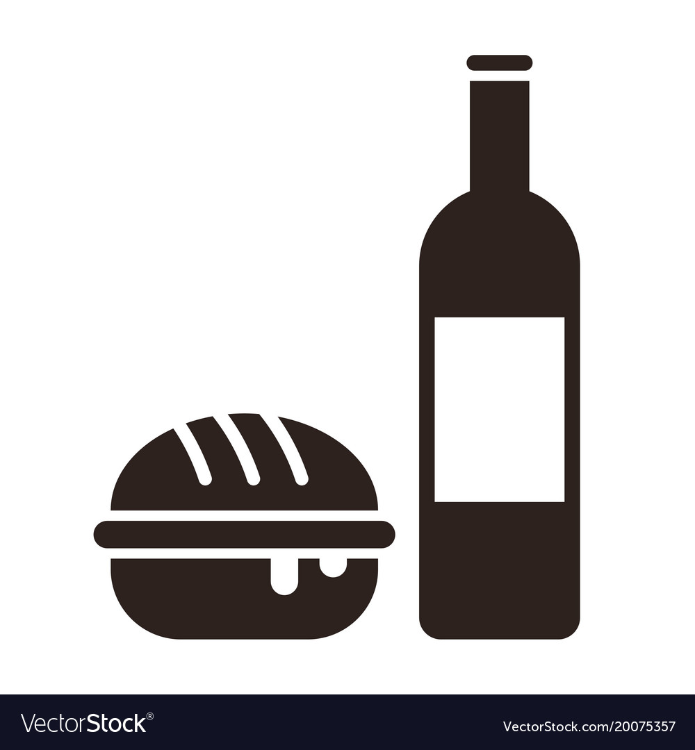 Burger and wine bottle.