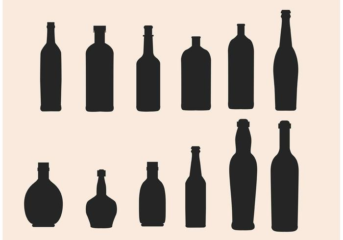 Glass Bottle Silhouette Vectors.