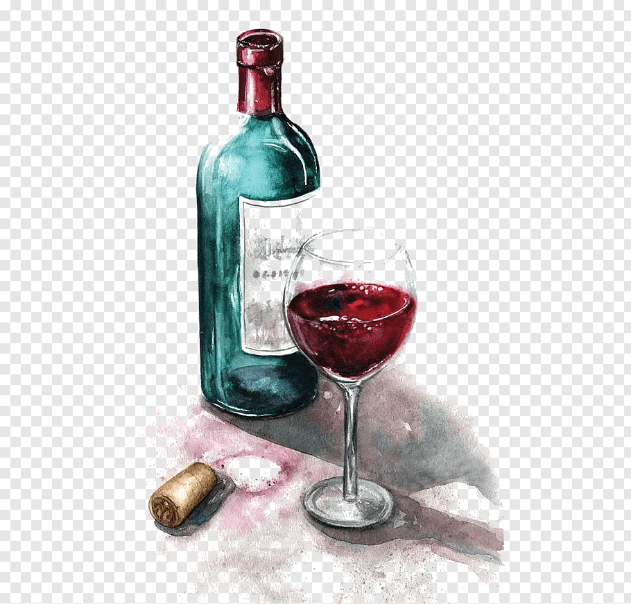 Red wine glass bottle and wine glass illustration, Red Wine.