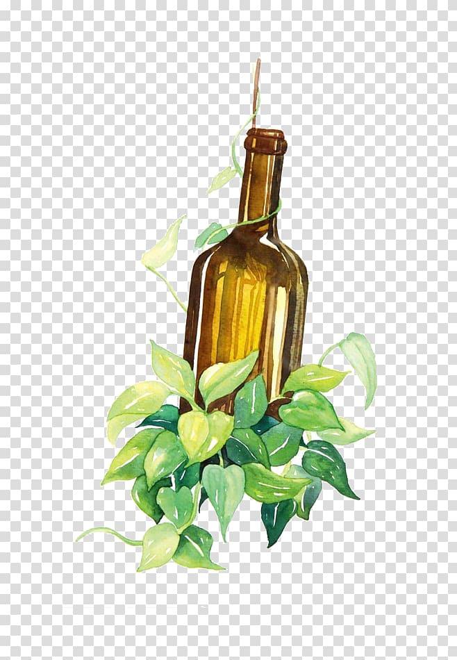 Wine Bottle Watercolor painting, Bottle transparent.