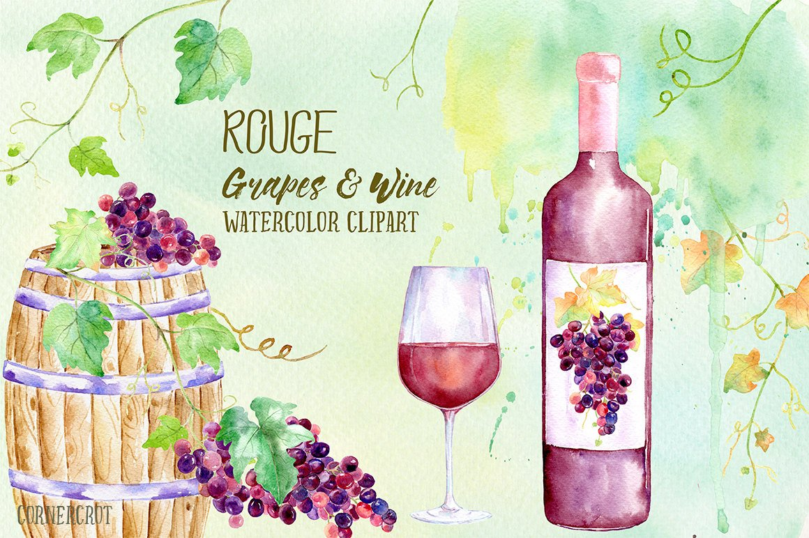 Watercolor Rouge Grapes and Wine, red grapes, vines, bottle of red wine,  wine barrel, glass wine, printable for instant download.