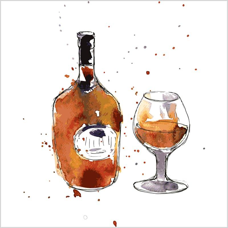 Cognac Champagne Wine Drawing Watercolor painting, cognac.