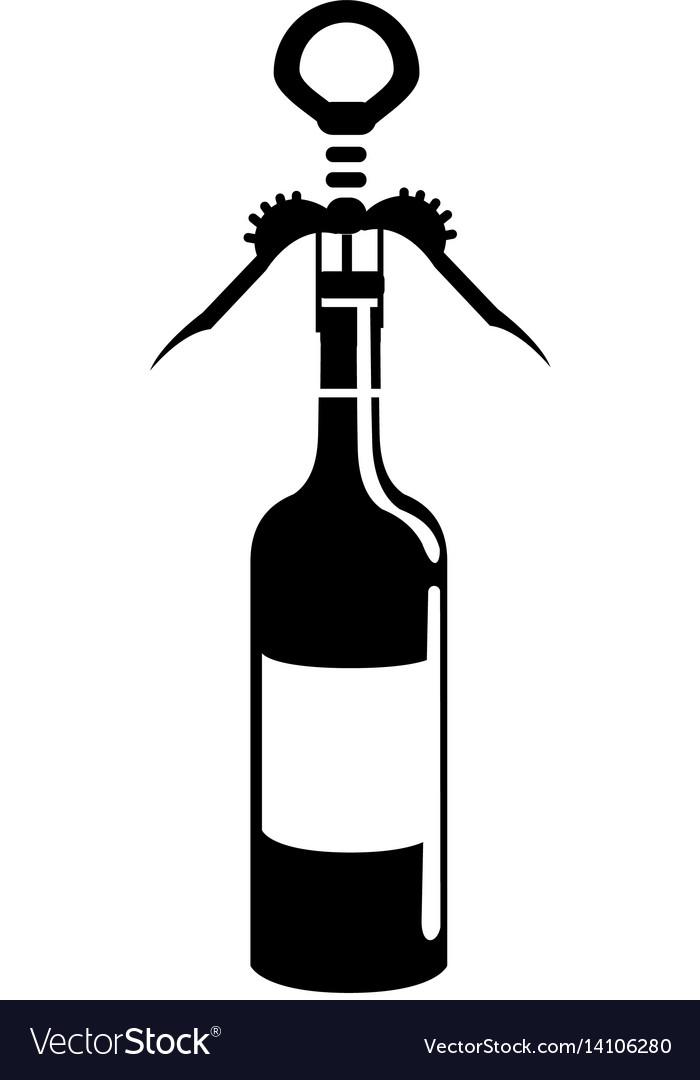 Black contour wine bottle with corkscrew tool.