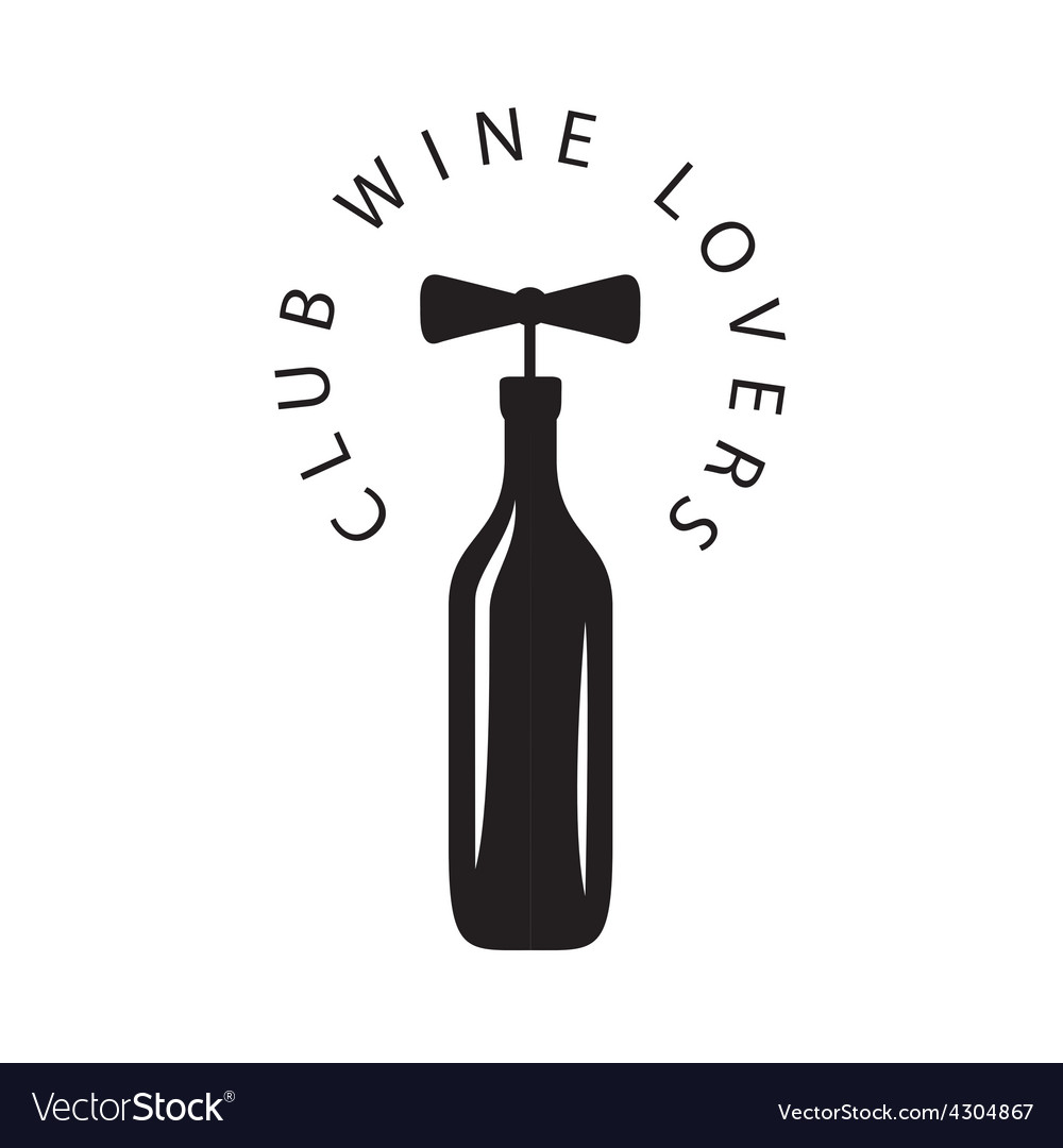 Logo bottle of wine with corkscrew.