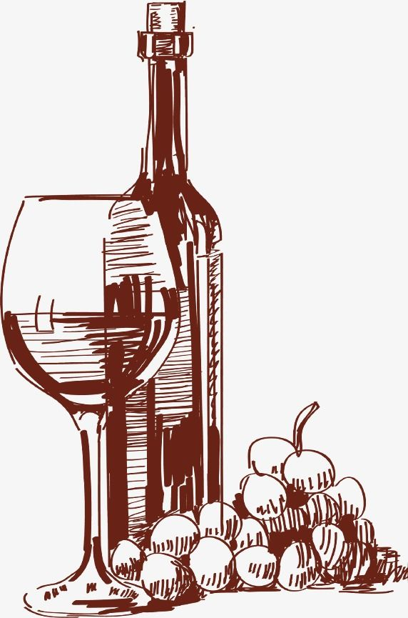 Hand Drawn Sketch Tall Glass Of Red Wine Bottles in 2019.